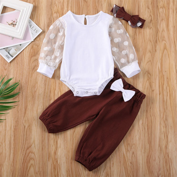 White Polka Dot Sleeve Bodysuit W/ Maroon Bowknot Pants & Matching Headband