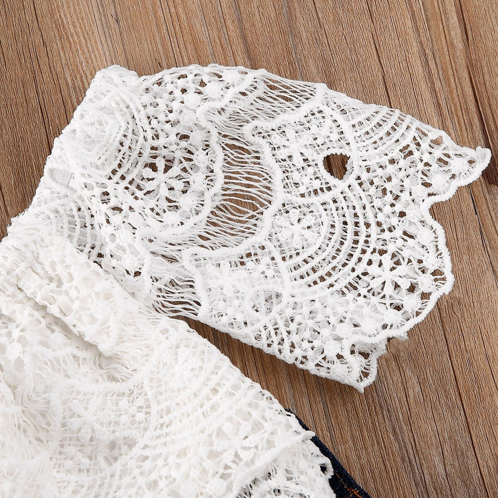 White Lace Vintage Crop Top W/ Ripped Mesh Net Denim Jeans