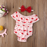 Red Flamingo Ruffle Sunsuit W/ Matching Headband Bow