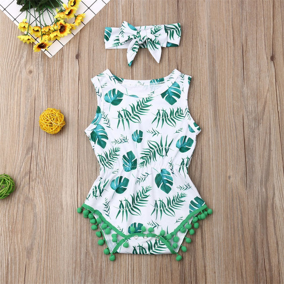 Jungle Leaf Pom Pom Sunsuit W/ Matching Headband