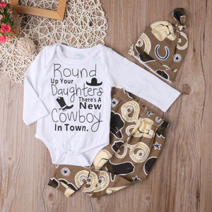 Round Up Your Daughters Bodysuit W/ Matching Pants & Cap