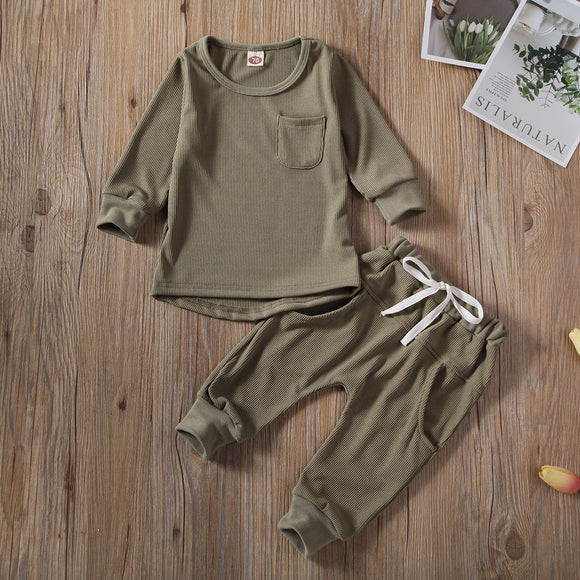 Solid Pocket Pullover Top W/ Matching Drawstring Pants
