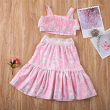 Pink Button Crop Top W/ Matching Ruffle Floral Skirt