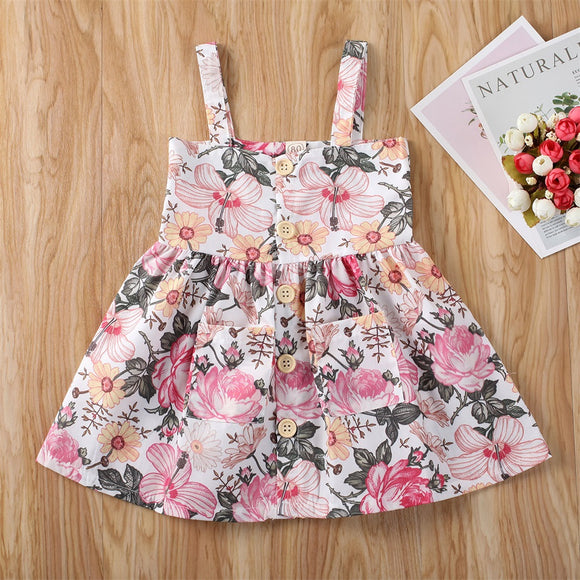 Pink Floral Button Pocket Sundress