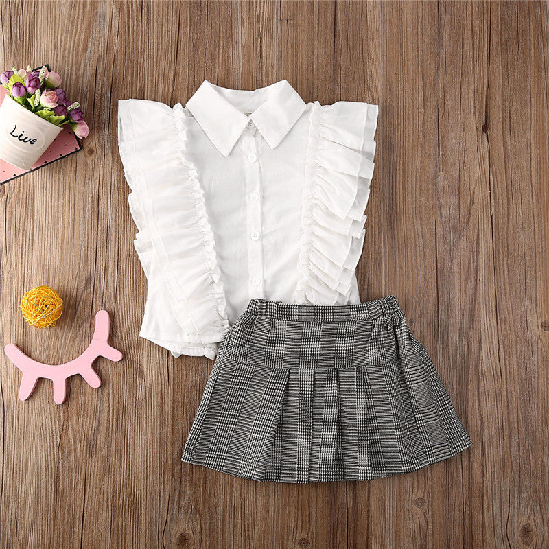 White Ruffle Collared Button Tankie W/ Gray Plaid Pleated Skirt