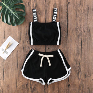 Black & White Love Strap Sport Top W/ Matching Shorts