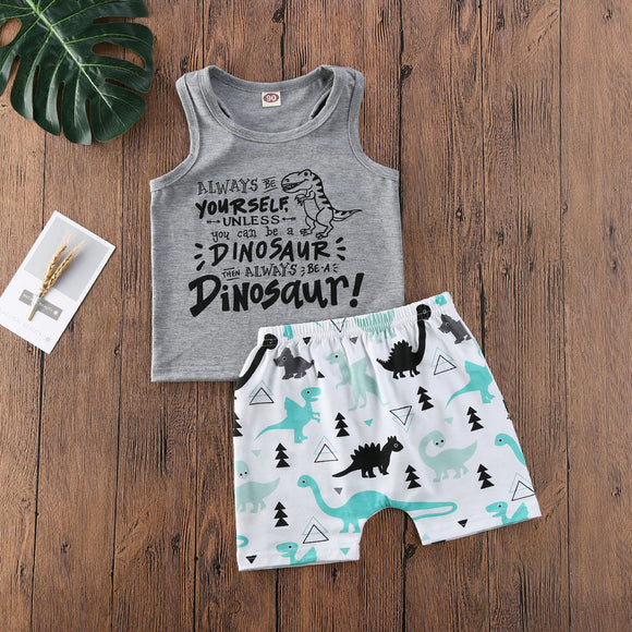 Always Be Yourself Tank Top W/ Matching Dino Shorts