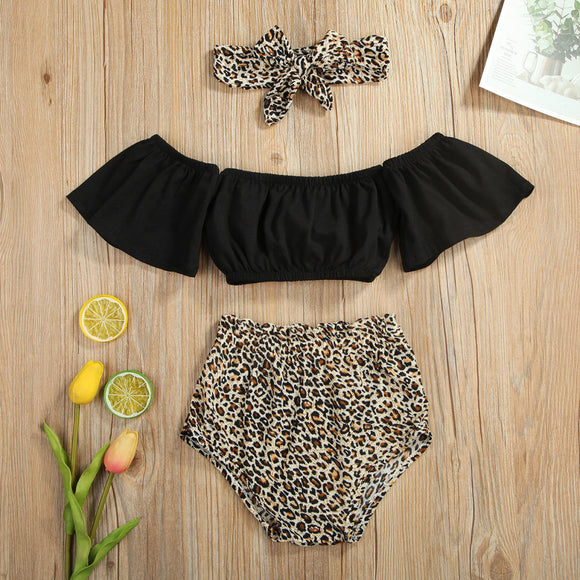 Black Off Shoulder Crop Top W/ Leopard Print Bummies & Headband