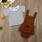 Stripe Short Sleeve Top W/ Bear Overalls