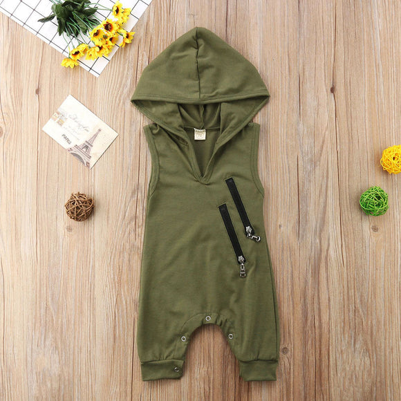 Army Green Double Zipper Hooded Romper