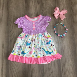 Pastel Dinosaur Twirl Dress W/ Matching Bow & Necklace