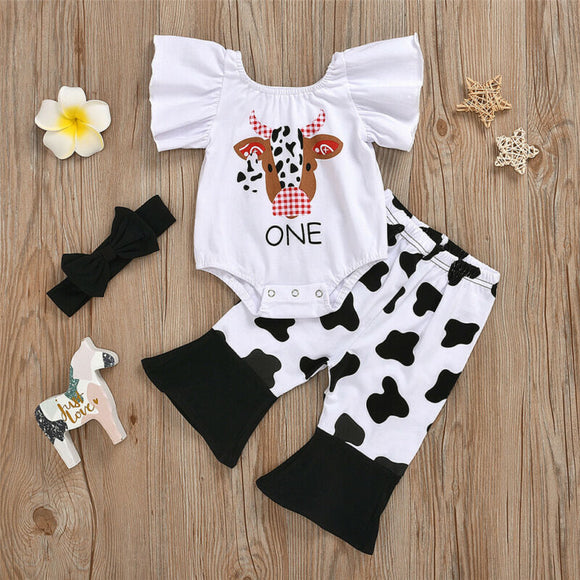 'One' Cow Flutter Sleeve Bodysuit W/ Cow Print Flare Bottoms & Matching Headband