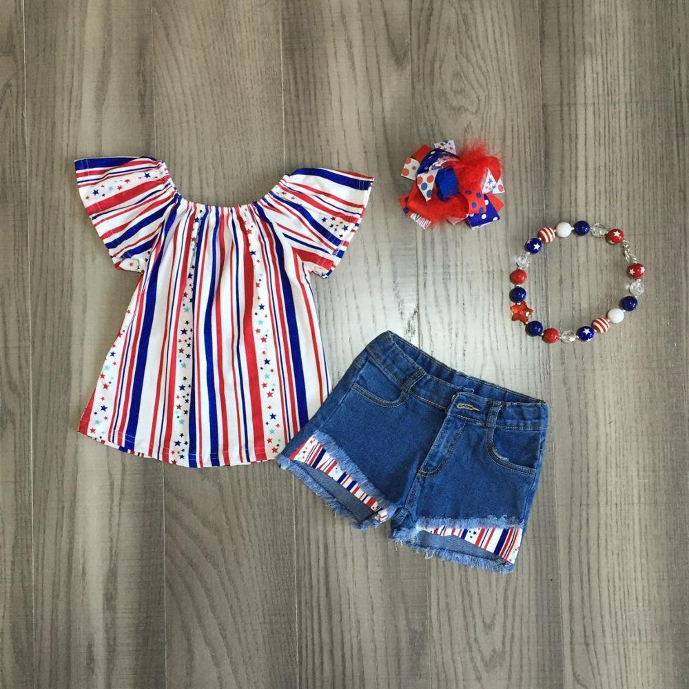 Stars & Stripes Top W/ Matching Ripped Denim Shorts, Bow & Necklace
