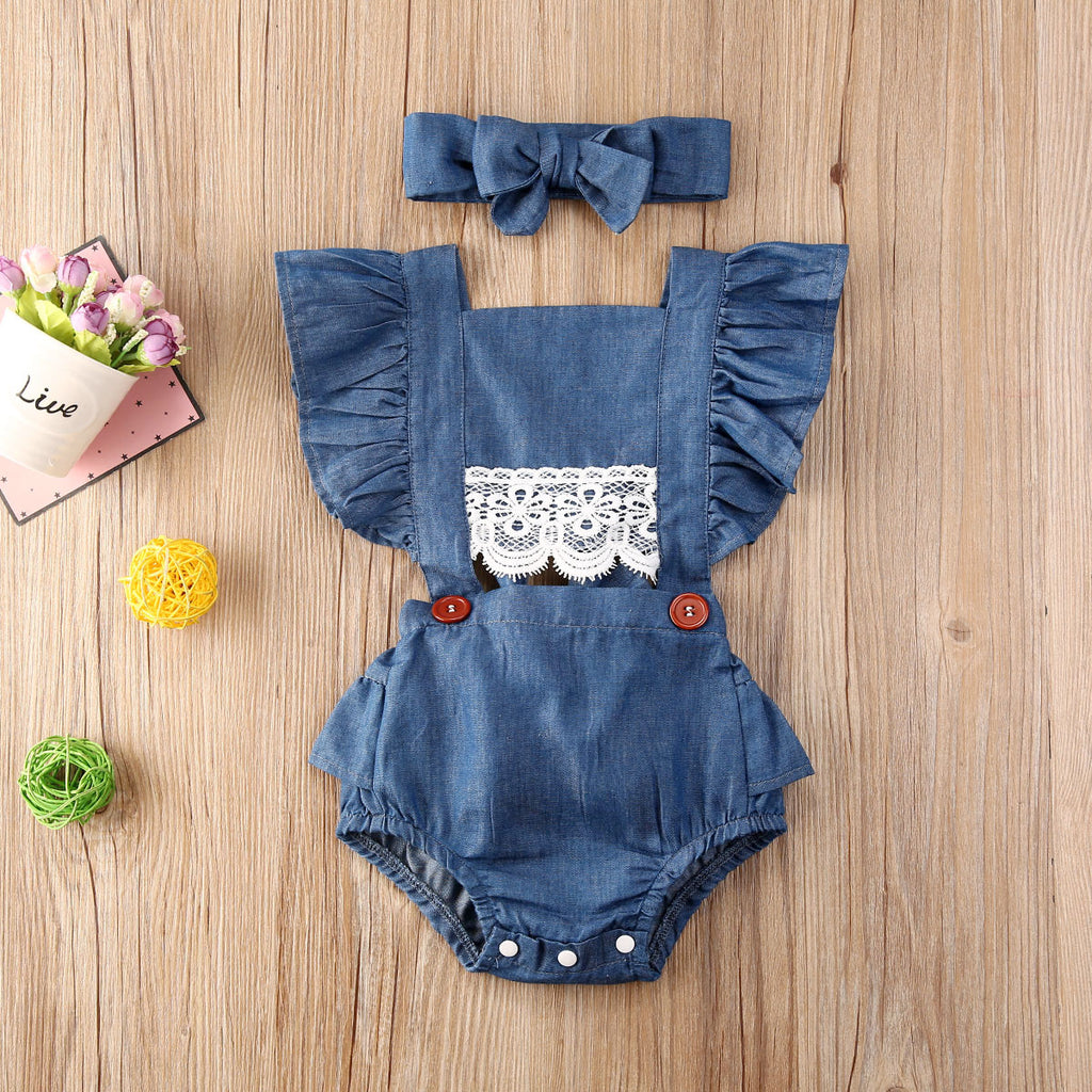 Denim Blue Lace Middle Sunsuit W/ Matching Headband