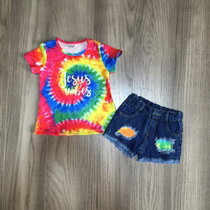 Jesus Vibes Tie Dye Top W/ Matching Ripped Denim Shorts