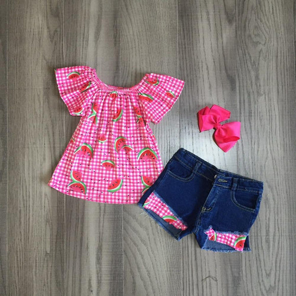 Watermelon Plaid Top W/ Ripped Denim Shorts & Matching Bow