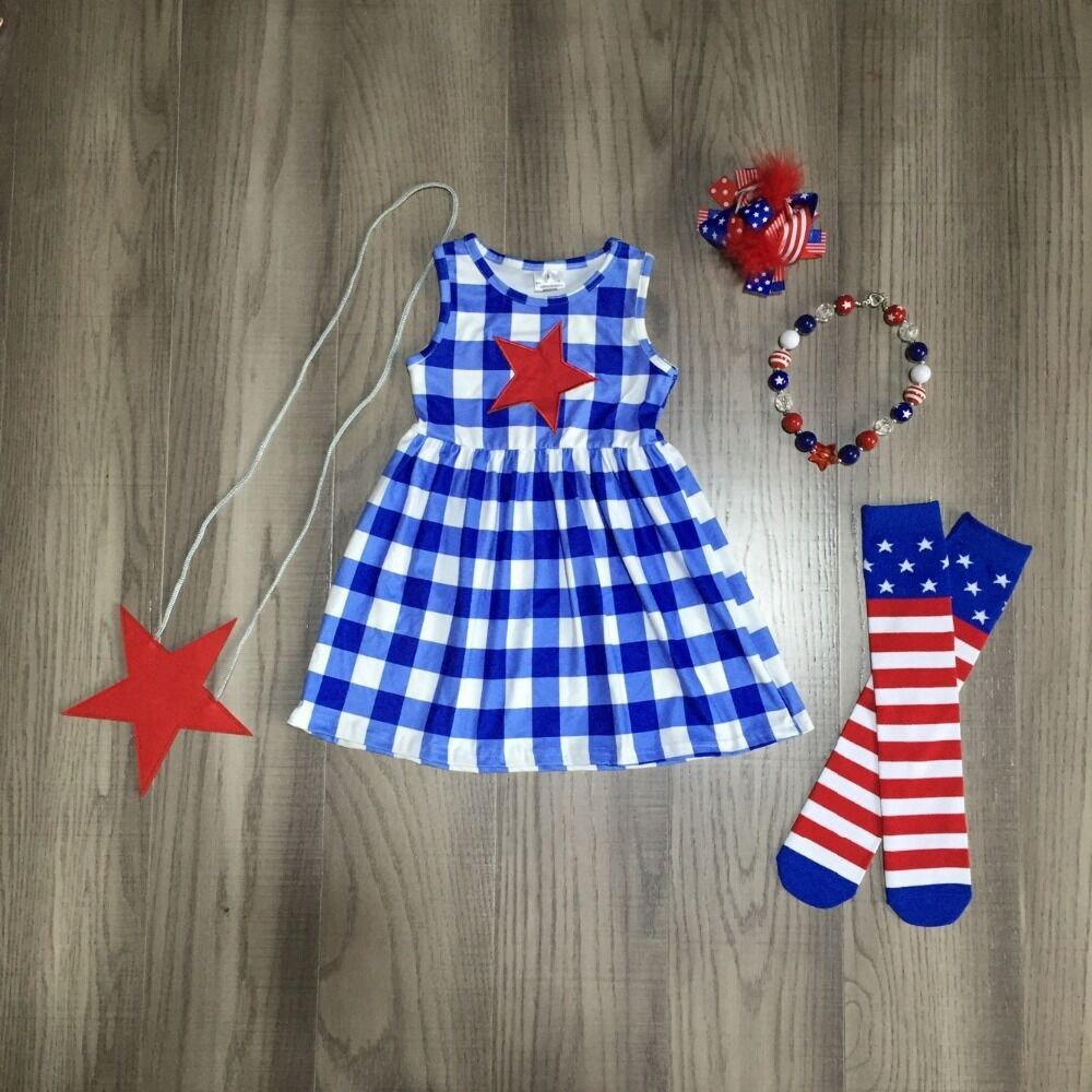 Blue Plaid Star Sundress W/ Matching Purse, Bow, Necklace & Leg Warmers
