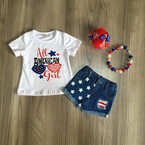 All American Girl Top W/ Matching Denim Shorts, Bow & Necklace