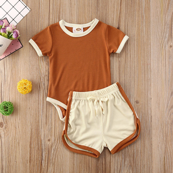 Burnt Orange Retro Bodysuit W/ Matching Sport Shorts