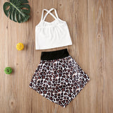 White Ribbed Crop Top W/ Leopard Print Hi Lo Skirt
