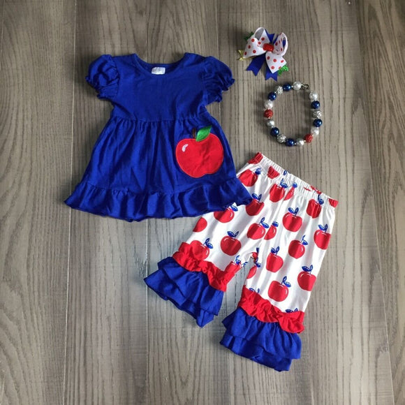 Royal Blue Apple Ruffle Top W/ Matching Capri Pants, Bow & Necklace