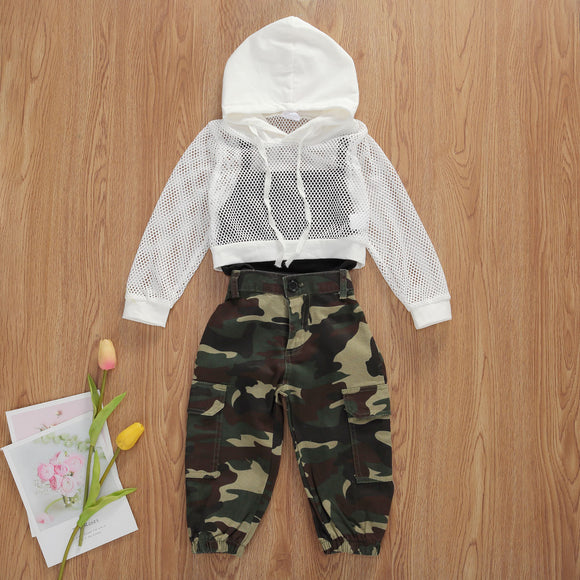 Black Cami Top, White Mesh Crop Hoodie & Camo Pants