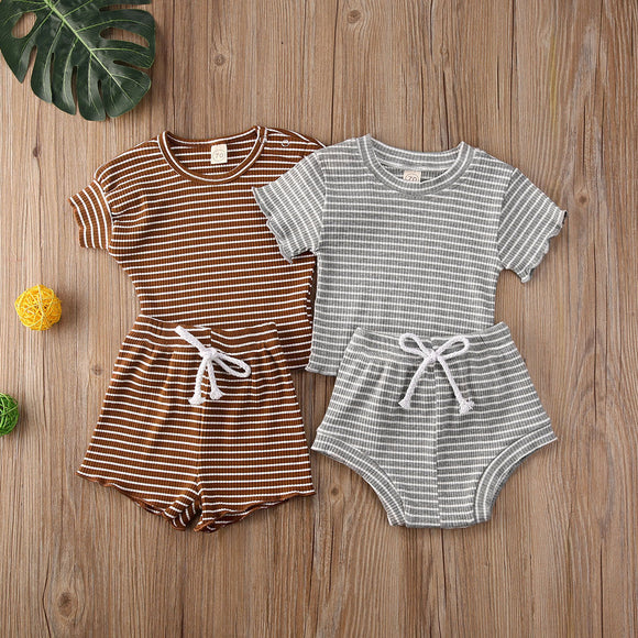 Striped Bo Top W/ Matching Drawstring Bottoms