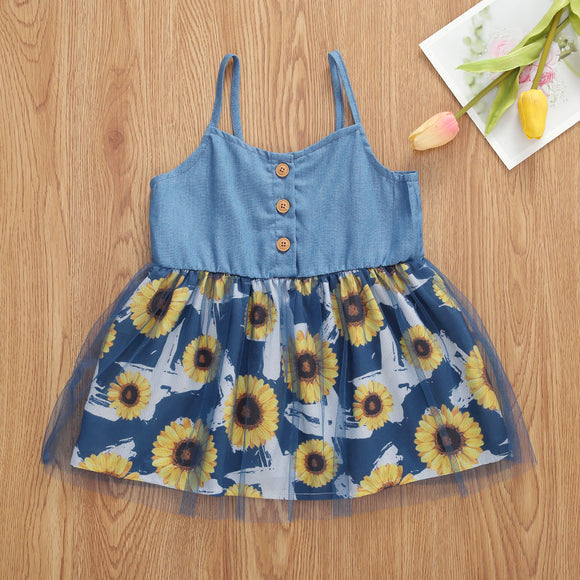 Denim Blue Button Sunflower Sundress