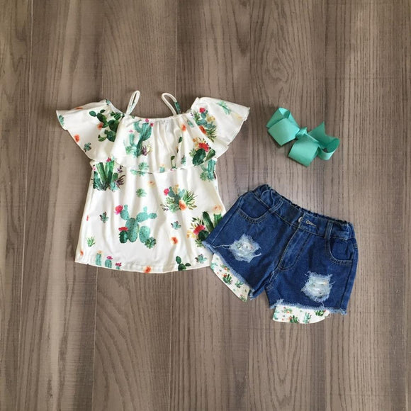 Cactus Print Top W/ Matching Ripped Denim Shorts & Bow