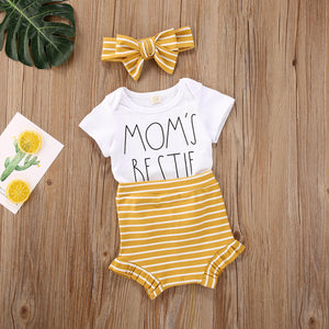 Mom's Bestie Bodysuit W/ Striped Ruffle High Waist Bummies & Matching Headband