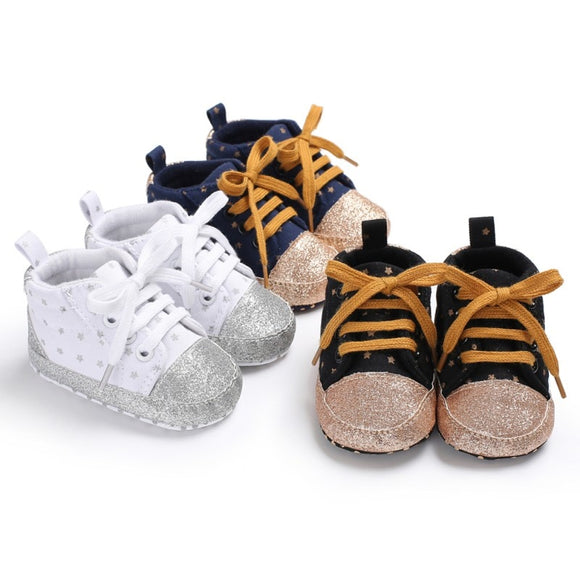Glitter Star Print Baby Canvas Shoes