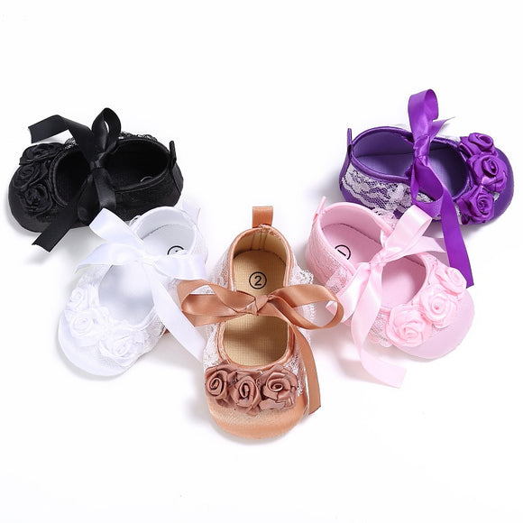 Floral Lace Bowknot Baby Slippers