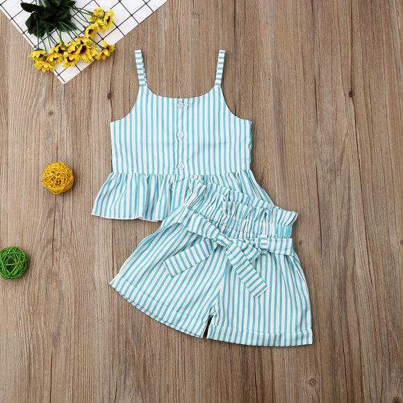 Striped Blue Ruffle Top W/ Matching Bowknot Shorties