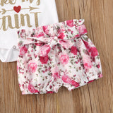Sassy Like My Aunt Ruffle Shoulder Bodysuit W/ Pink Floral Shorties & Matching Headband