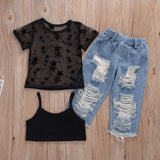Black Cami Crop Top W/ Star Print Sheer Cover & Light Ripped Denim Jeans