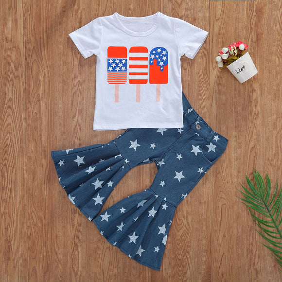 American Popsicle Top W/ Star Print Denim Flare Pants