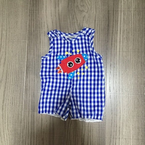 Blue Plaid Rocket Ship Jumpsuit