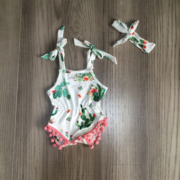 White Cactus Print Pom Pom Sunsuit W/ Matching Headband