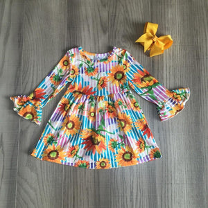Striped Sunflower Petal Sleeve Dress W/ Matching Bow