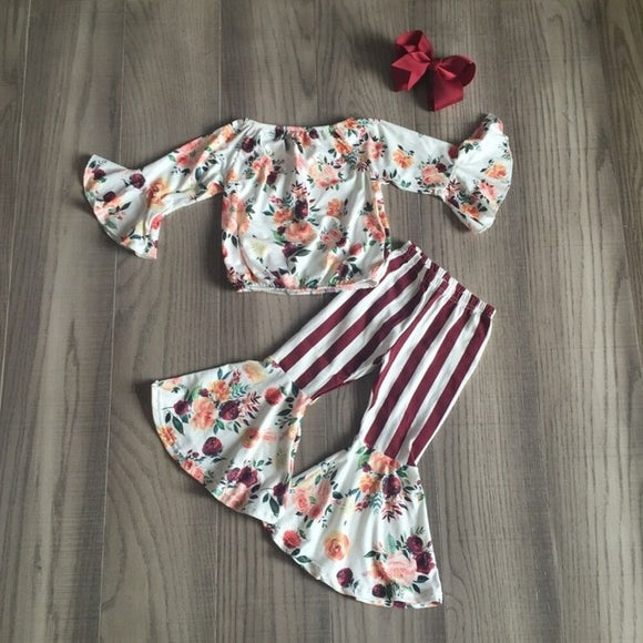 Floral Petal Sleeve Top W/ Matching Stripe Bell Bottoms & Bow