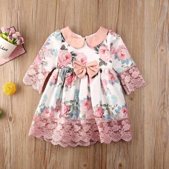 Pink Lace Floral Bowknot Sophia Dress