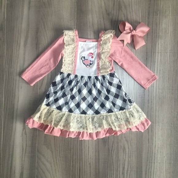 Black & White Plaid Rooster Twirl Dress W/ Matching Bow