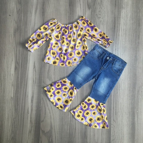 Purple Sunflower Tie Dye Blouse W/ Matching Jean Bell Bottoms
