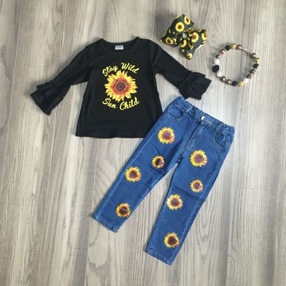 Stay Wild Sun Child Ruffle Sleeve Top W/ Matching Denim Pants, Bow & Necklace