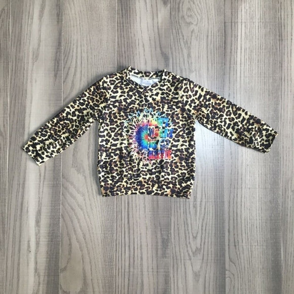 Don't Worry Be Hippie Leopard Sweater