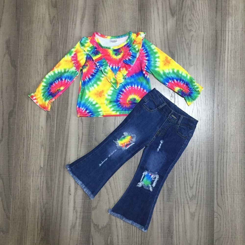 Tie Dye Ruffle V Neck Sweatshirt W/ Matching Ripped Denim Jeans