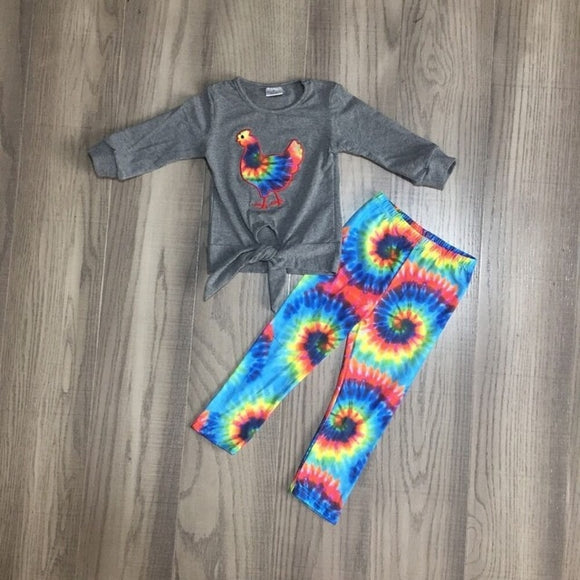 Tie Dye Rooster Tie Long Sleeve Top W/ Matching Pants