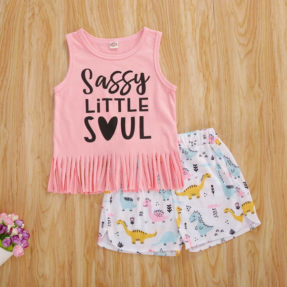 Sassy Little Soul Tassel Top W/ Dinosaur Shorties