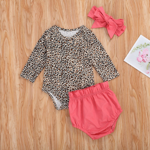 Long Sleeve Leopard Print Bodysuit W/ Bowknot Bummies & Matching Headband