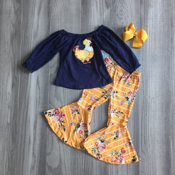 Striped Chicken Top W/ Matching Mustard Bell Bottoms & Bow